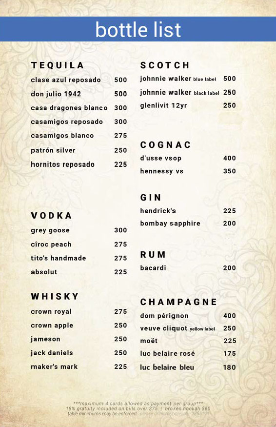 Bottle Menu